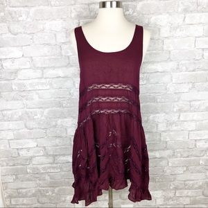Free People Intimately Dark Red Mini Dress Size M